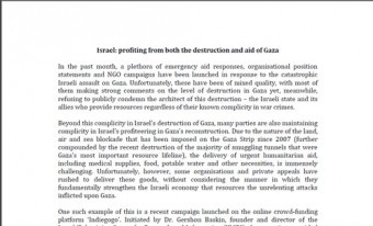 Israel: profiting from both the destruction and aid of Gaza