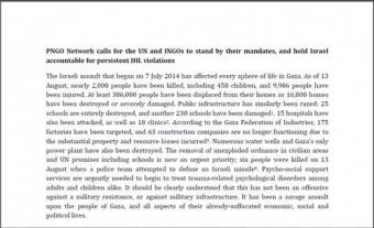 PNGO Network calls for the UN and INGOs to stand by their mandates, and hold Israel accountable for persistent IHL violations