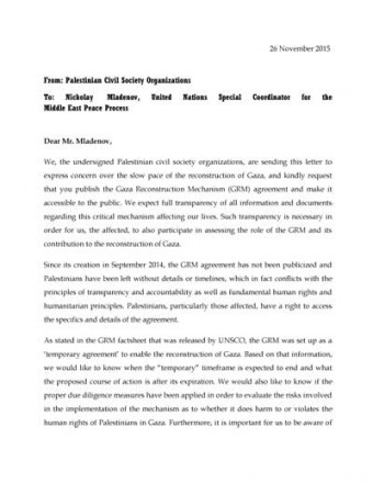 Letter to UNSCO